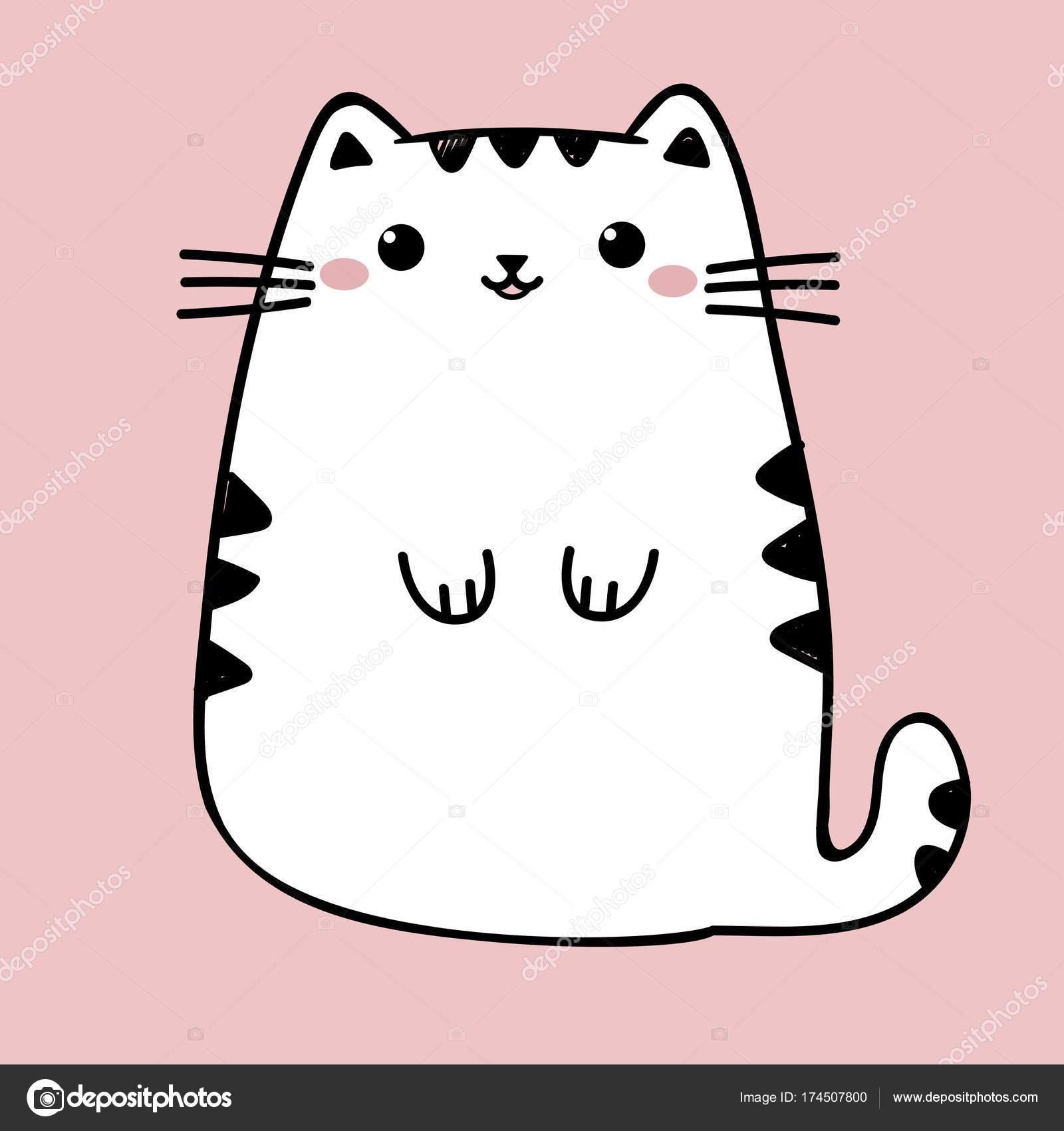 Kawaii ładny Gruby Biały Kot Na Białym Tle Na Różowym Tle