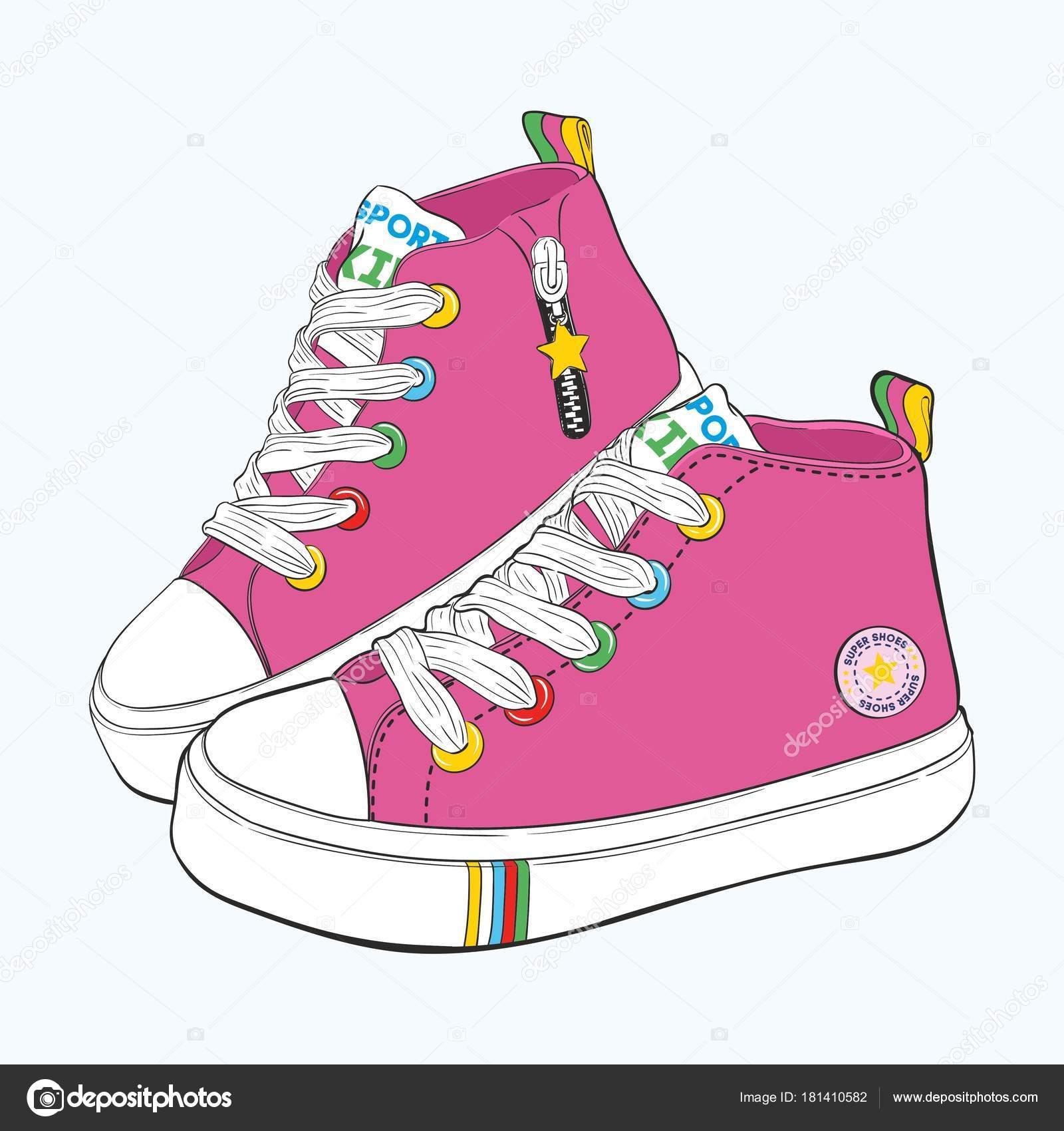 4f7e2d5415c Σετ παιδικά πάνινα παπούτσια. Παραλλαγές σχεδιασμού παπούτσια για κορίτσια  — Διανυσματικό Αρχείο
