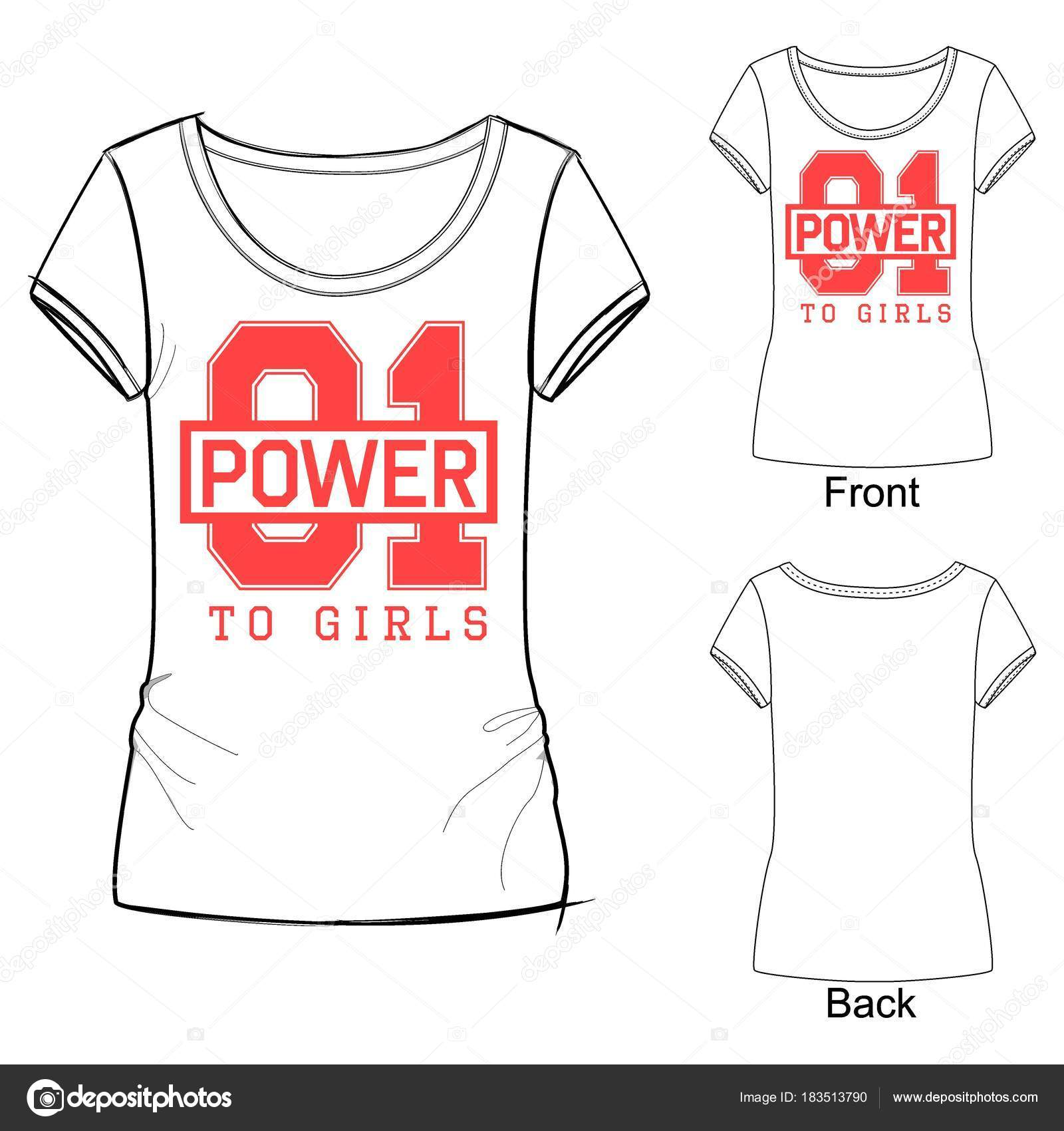 Fashion Sport T Shirt Print For Girls With Lettering 01 Power To
