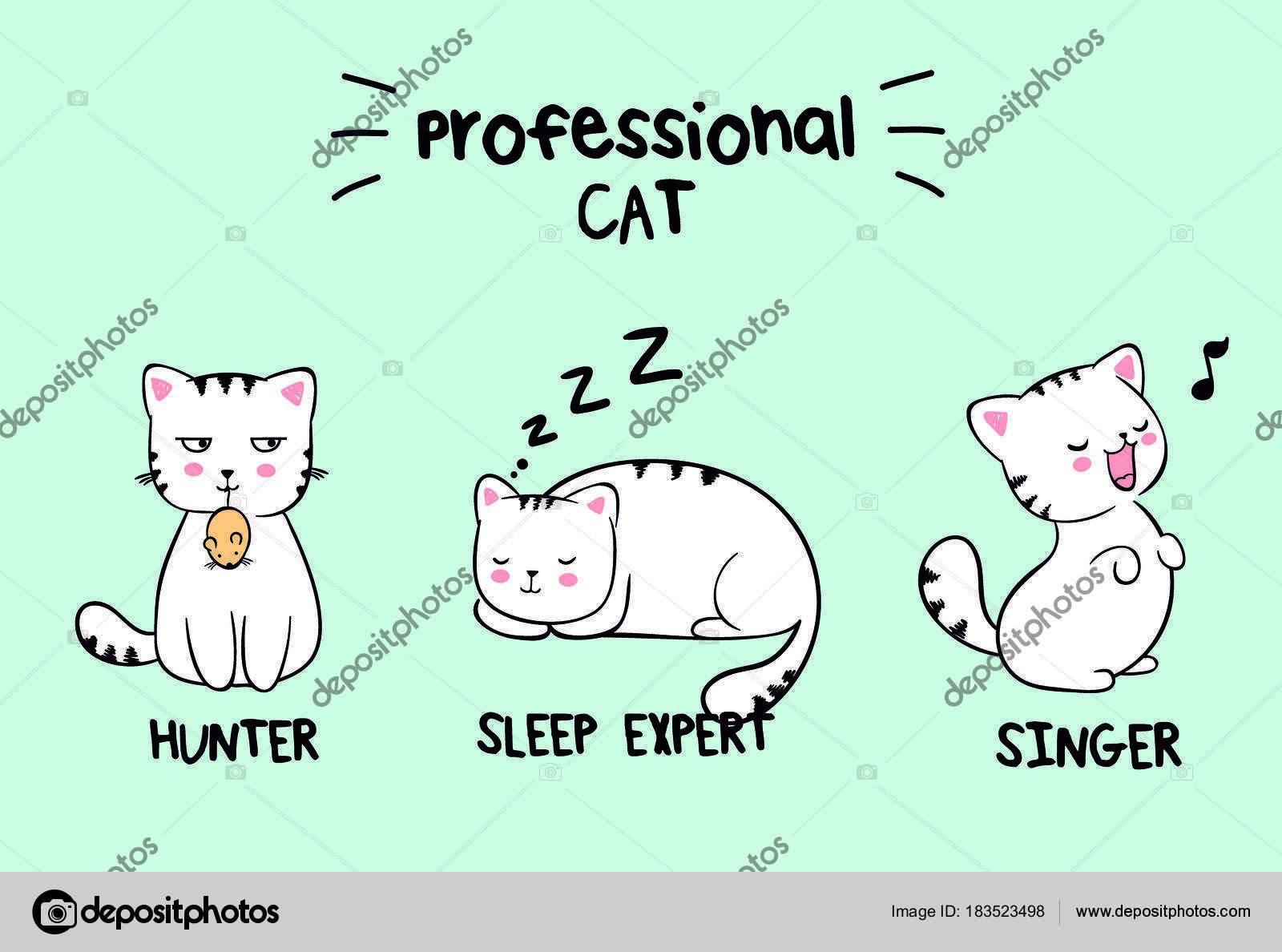 Conjunto De Tres Gatos Kawaii