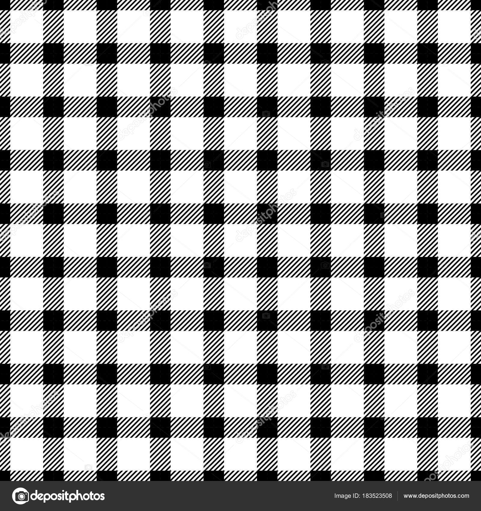 Vector Black And White Seamless Monochrome Plaid Pattern For