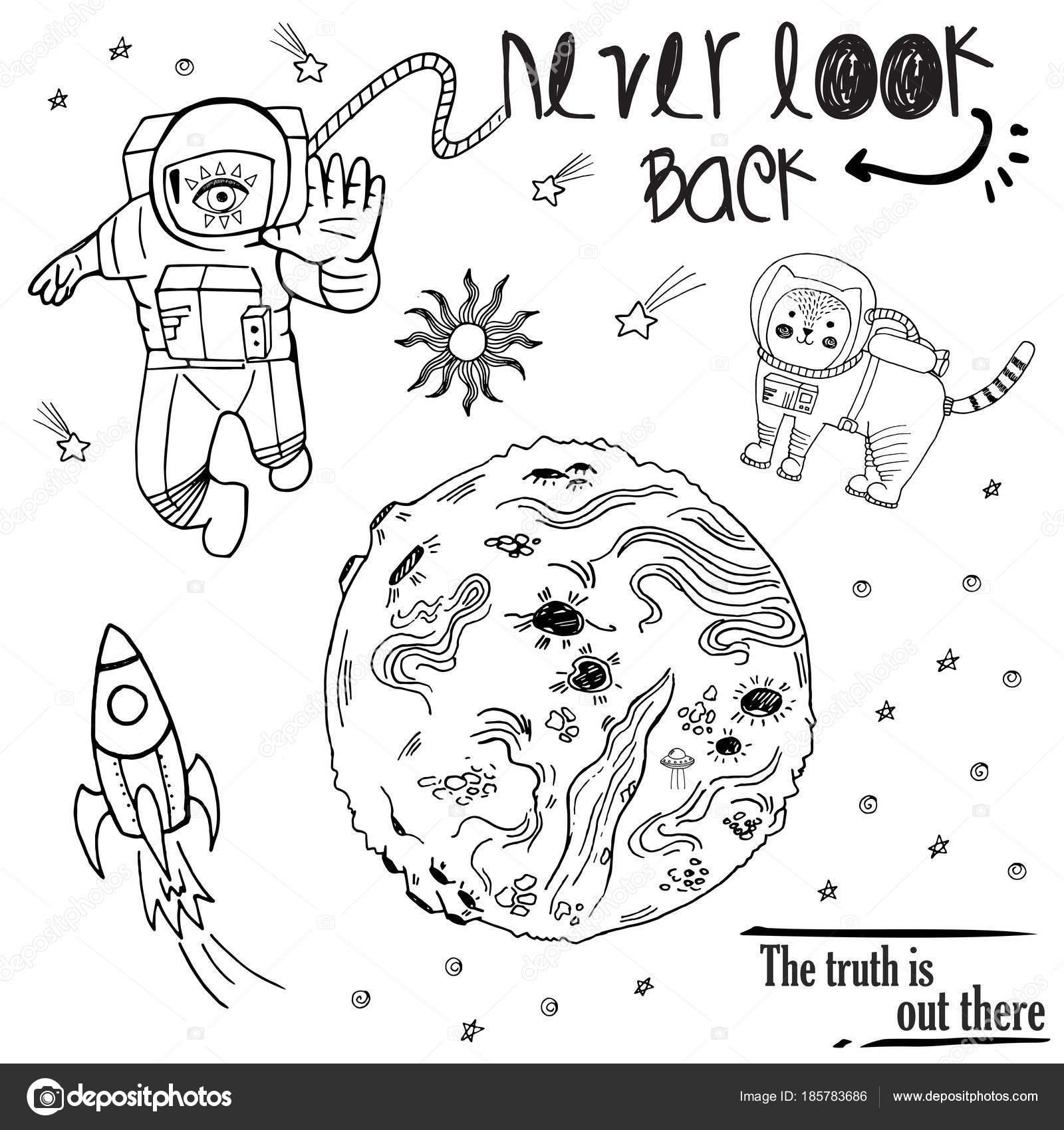 Cosmos con gato, cosmonauta, planeta, OVNI, cohete, parches de ...