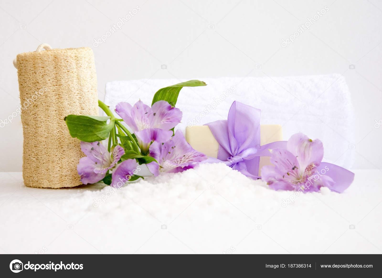 bathroom accessories, luff, alstroemeria flower, handmade soap ...