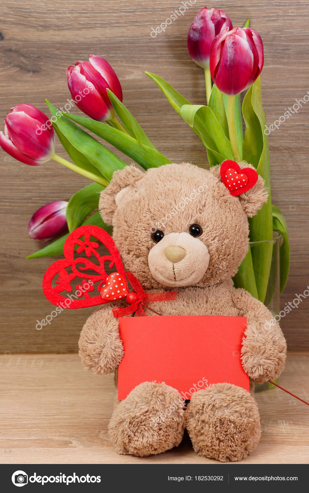 Postcard Teddy Bear Tulips Valentine Day Birthday Mothers Day