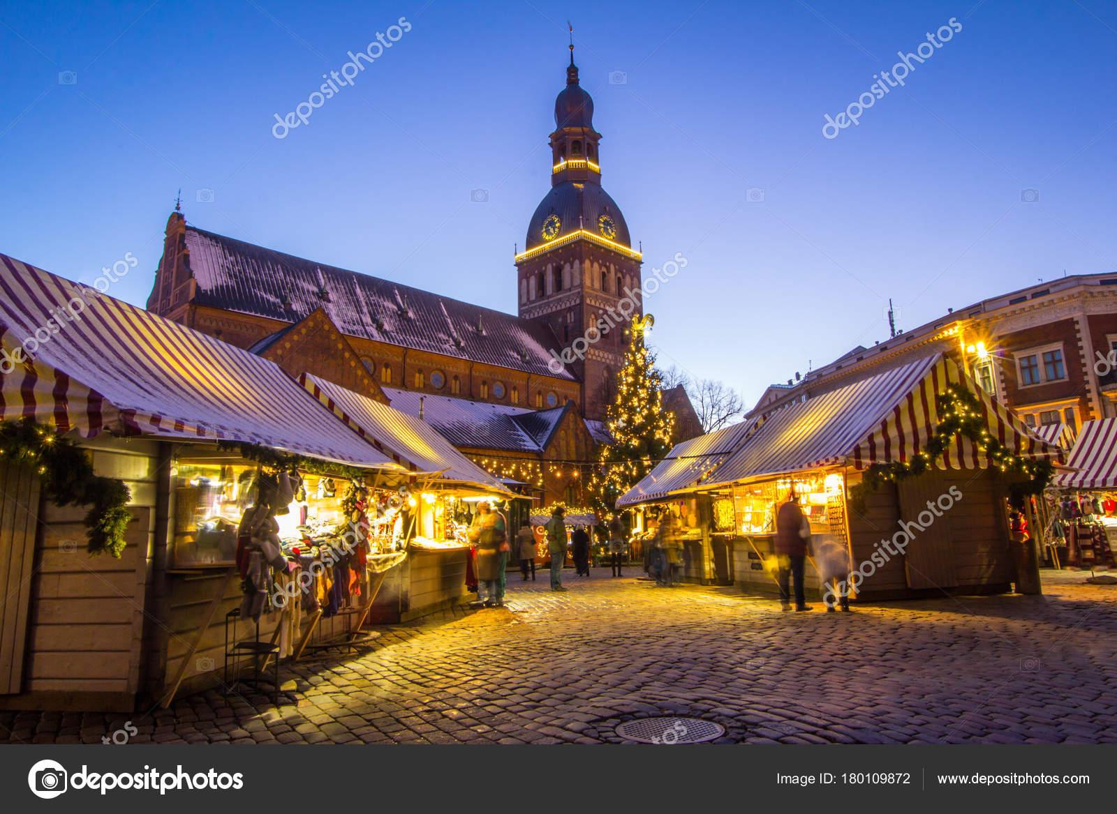 Riga Letland 7 Januari 2017 Kerstmarkt Op Het Domplein In De
