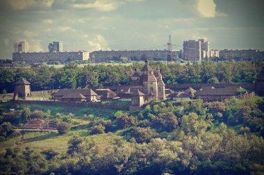 Zaporozhye Sech on the island of Khortytsya in Ukraine in retro processing