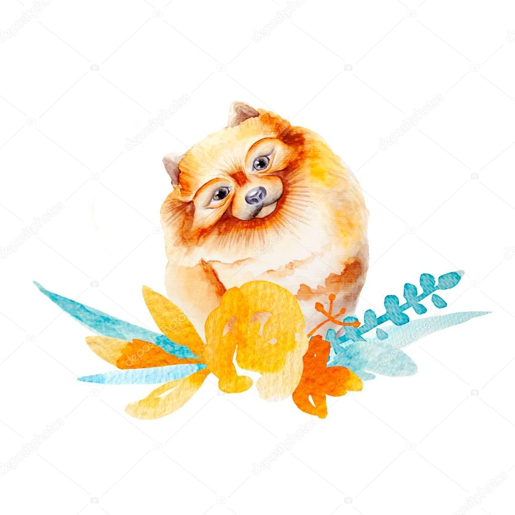 Dog watercolor image