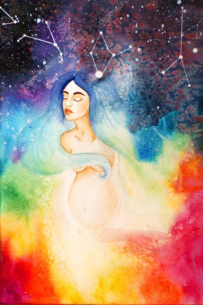 Watercolor illustration of a birth
