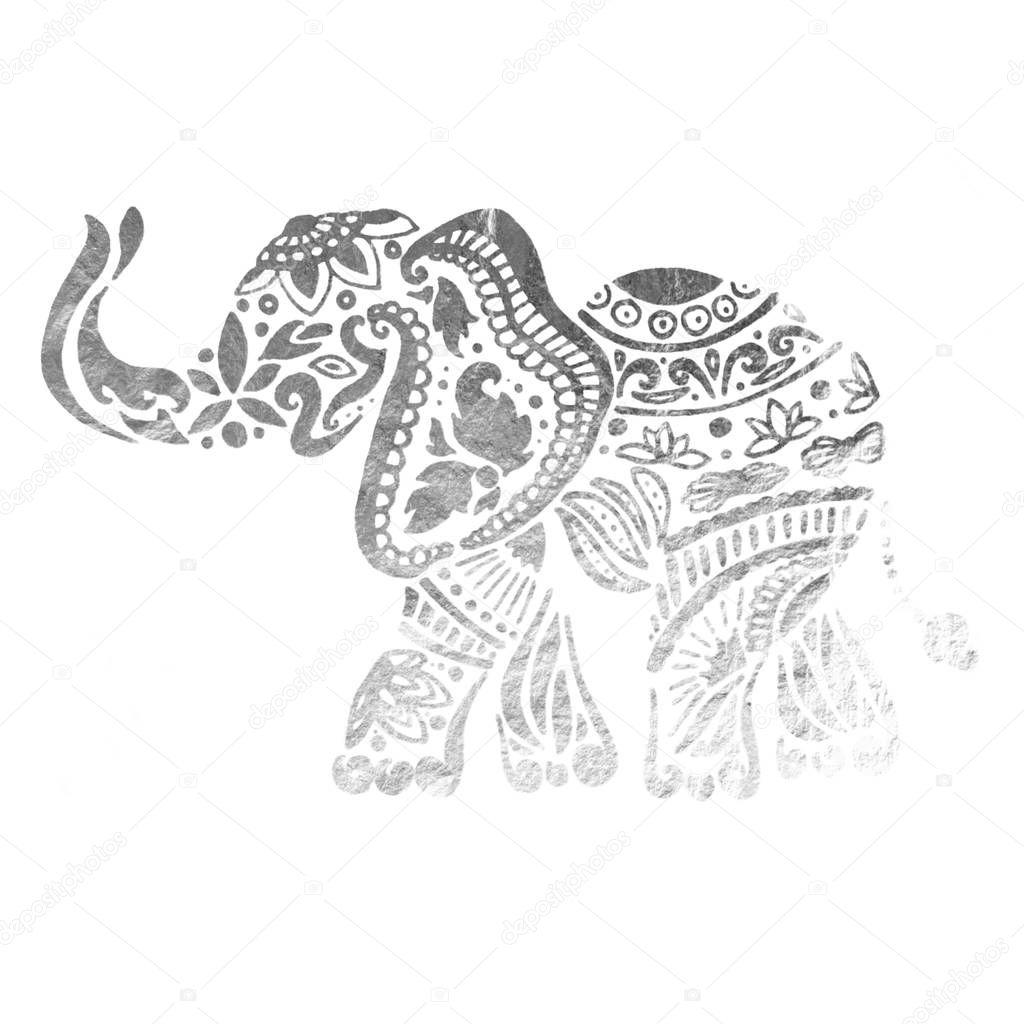 Elephant ornamental silver texture