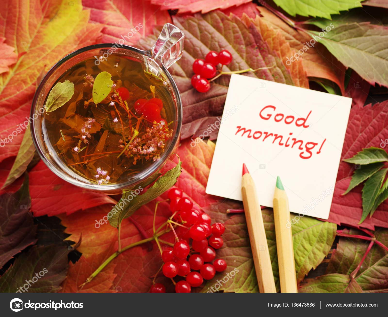 Guten Morgen Den Text Auf Eine Weiße Karte Und Eine Tasse