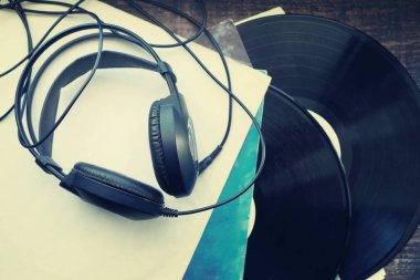 Vinyl, retro, earphones.
