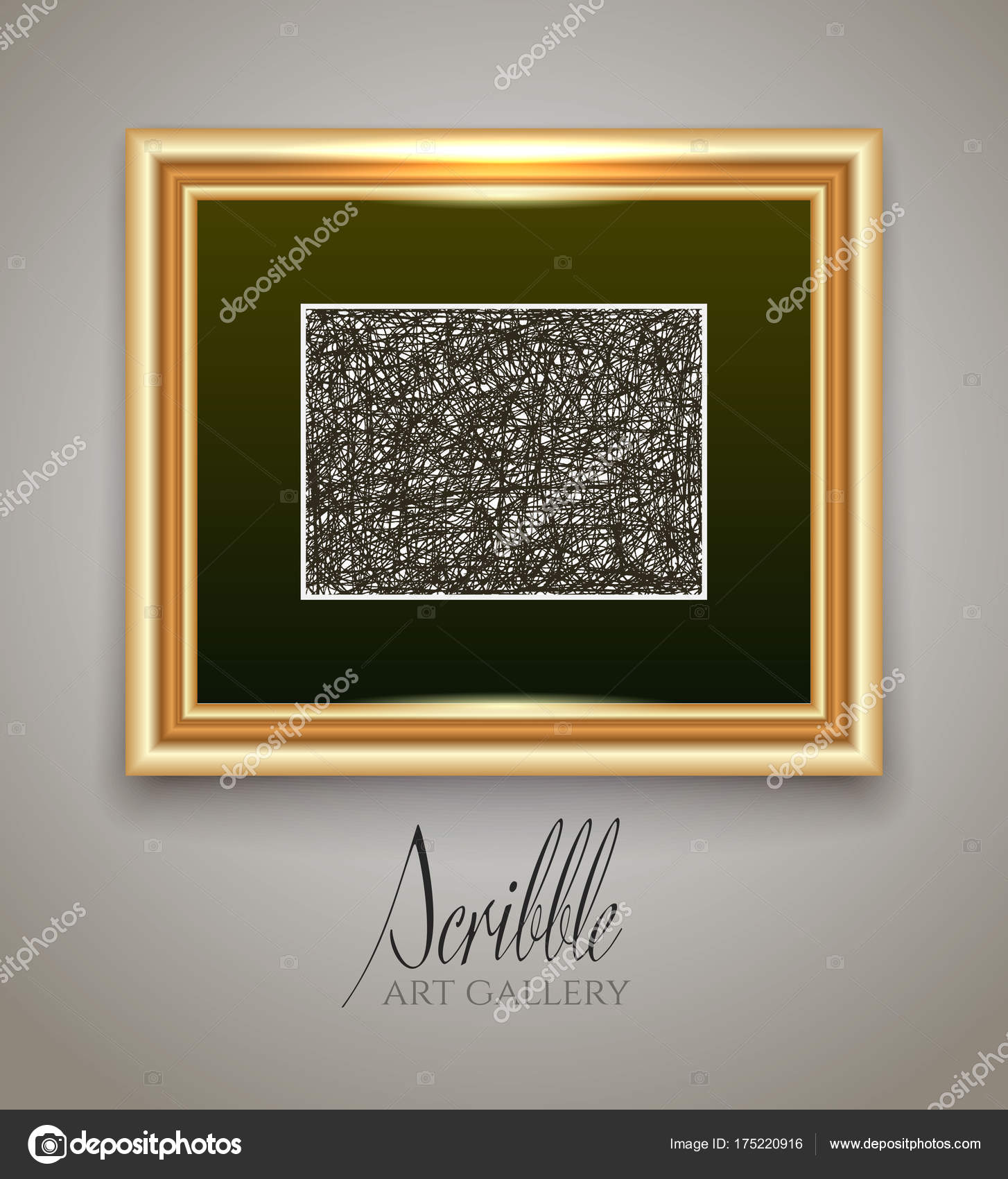 garabatos de pintura en un marco de oro — Vector de stock © YarKova ...