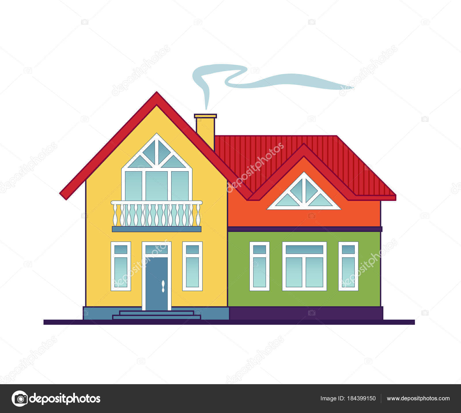 Casa Campo Lindo Colorido Aislada Sobre Fondo Blanco Casa Dos ...