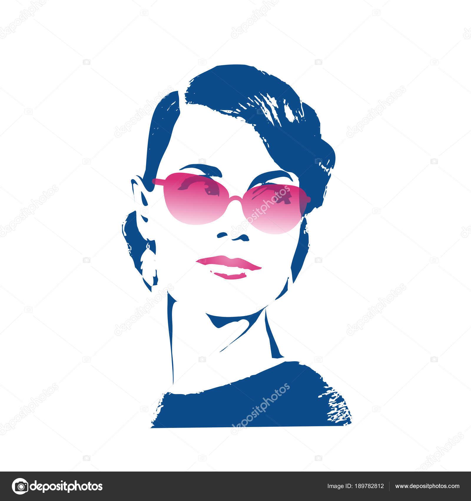 Ritratto femminile isolato su priorità bassa bianca. Bella ragazza in  occhiali da sole rosa millefoglie con uno stile in stile retrò. Manifesto di  grafici ... cedcb37235a2