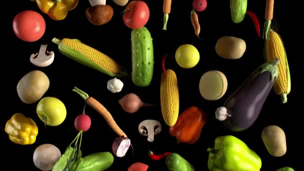 Vegetables fall on black animation looped