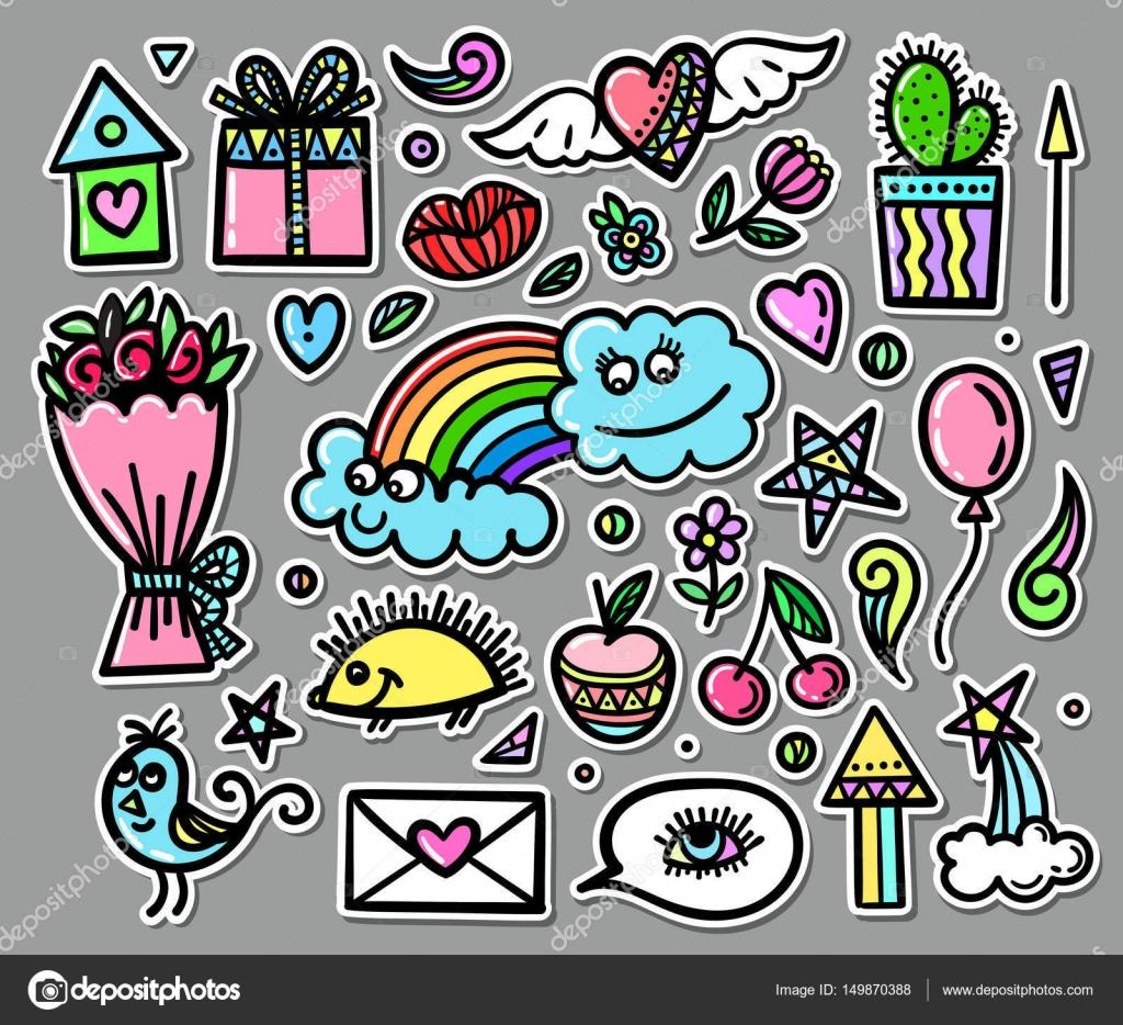 Vektor-Set von Hand gezeichneten Objekten, Doodle Elemente. Lustige ...