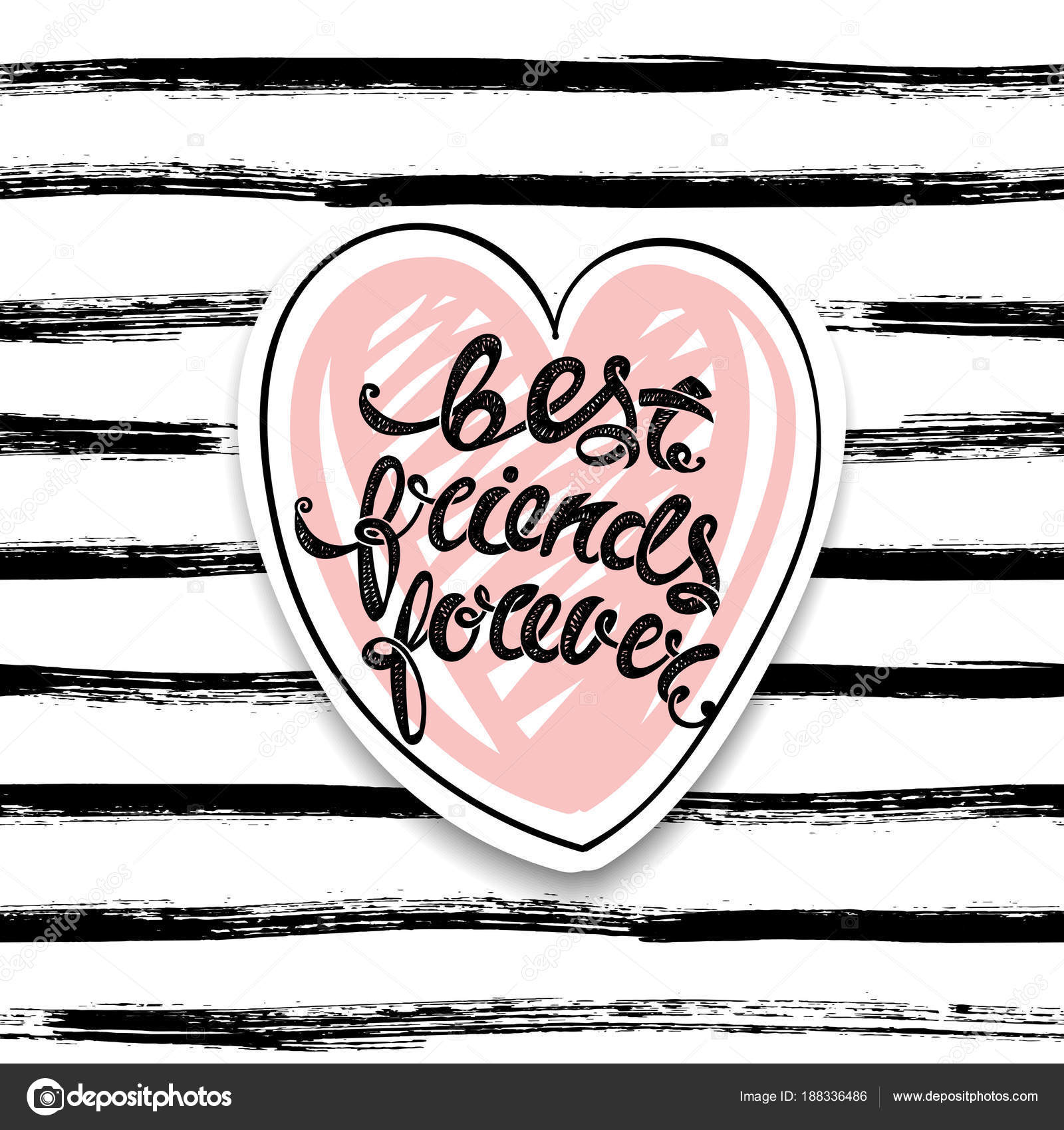 Best Friends Forever Vector Greeting Card Hand Drawn Letters