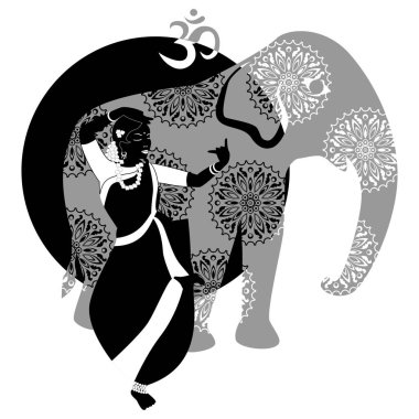 Illustration with a beautiful girl and elephant on the theme of India. stock vector