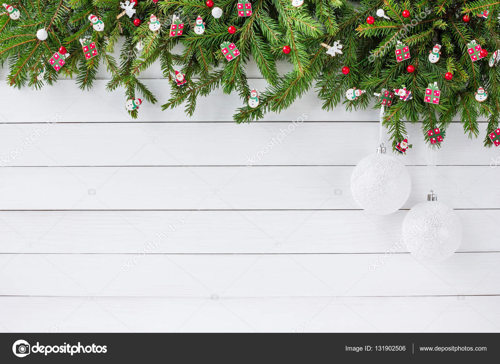 Christmas background  Christmas fir tree with decoration on white