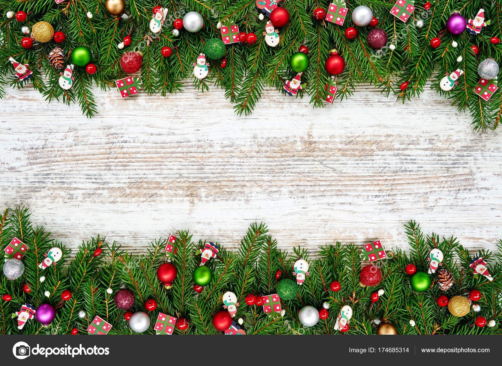 Fondo Navidad Abeto Navidad Con Decoración Fondo Blanco Madera Copia