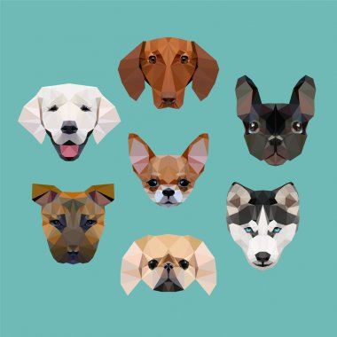 polygonal dogs vector set