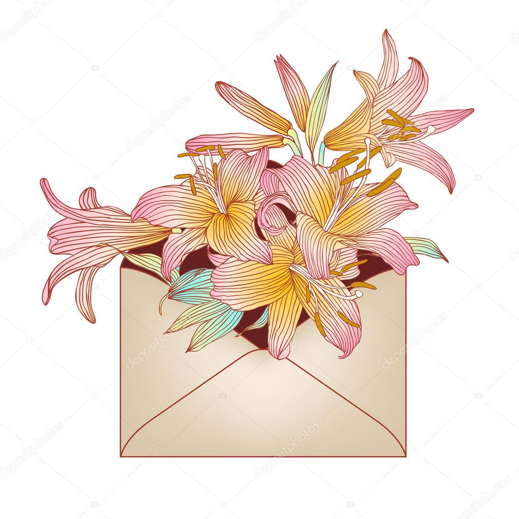 Envelope With Pink Royal Lily Flowers Stock Vector Ukususha
