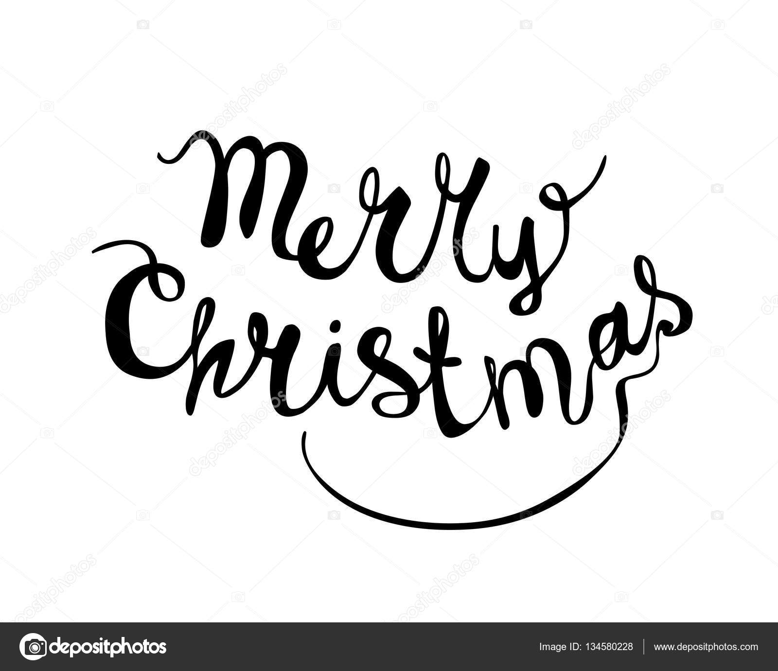 Merry Christmas Writing.Merry Christmas Hand Writing Congratulation Stock Vector