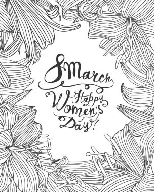 8 march. Happy Woman's Day! Linear lily floral frame