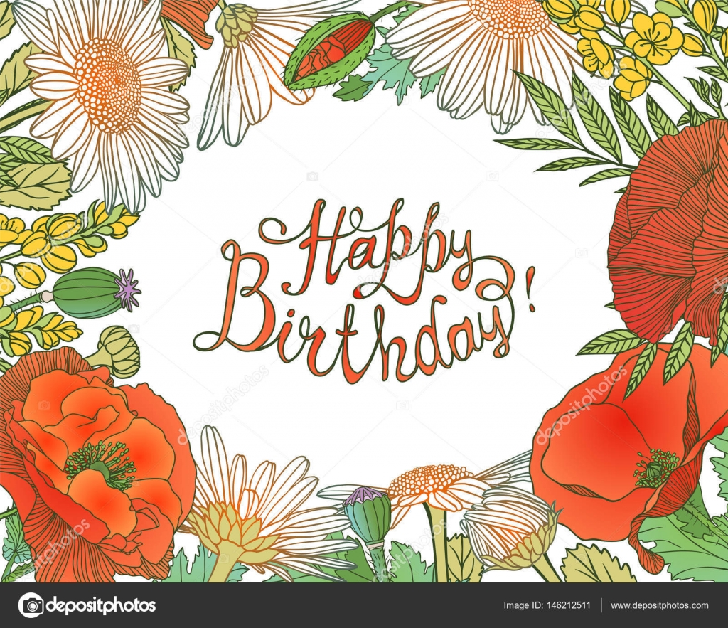 Happy Birthday Card with floral frame — Stock Vector © Ukususha