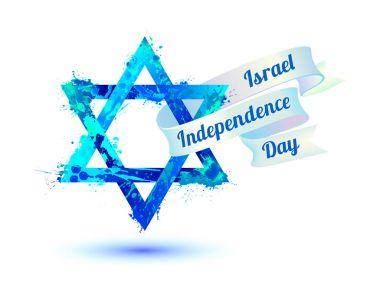 Israel independence day. David star of splash paint