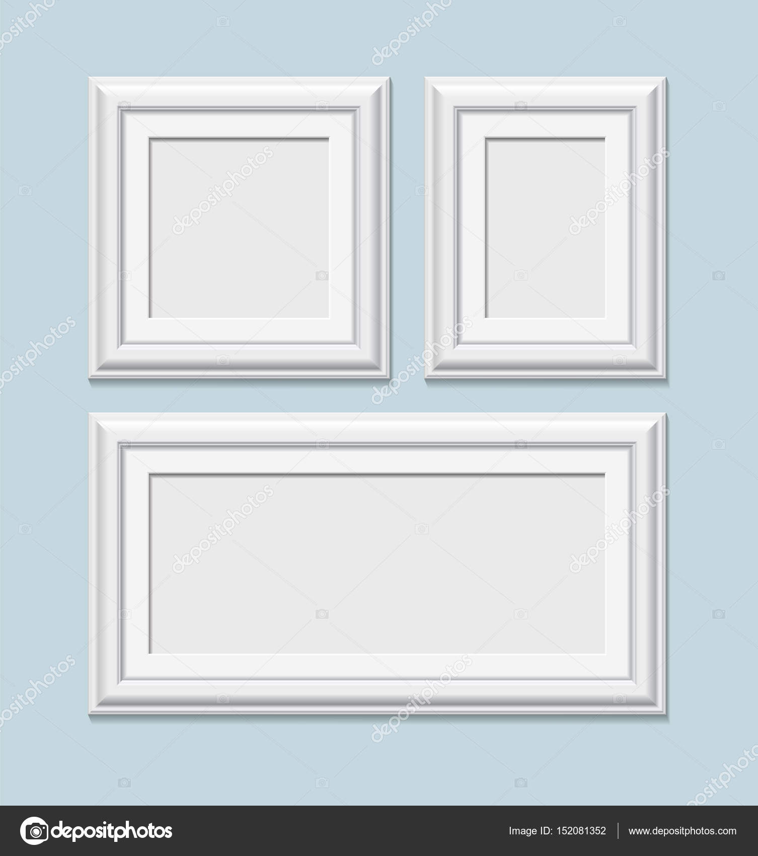 Eine Gruppe von quadratische weiße Bilderrahmen, Vektor ...