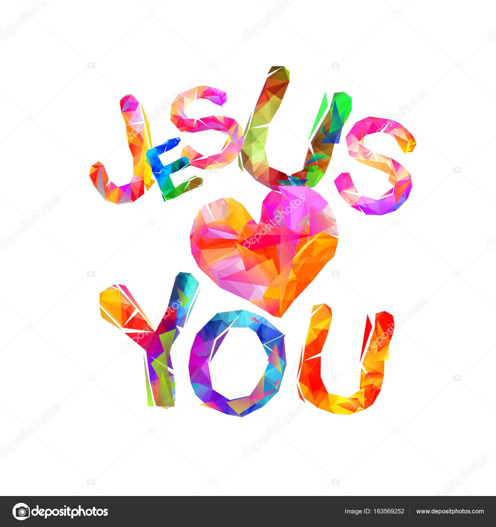 jesus loves you triangular letters u2014 stock vector ukususha