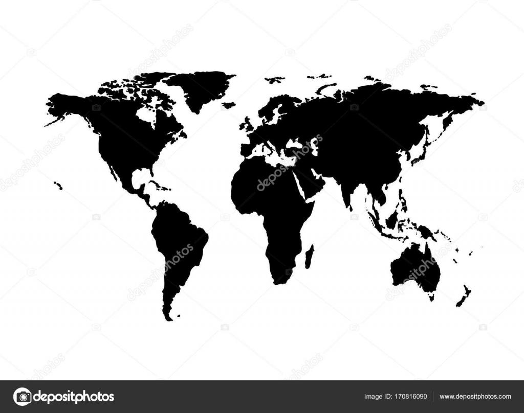 mapa mundi preto e branco Silhueta de vetor do mapa múndi. Preto no branco — Vetores de  mapa mundi preto e branco
