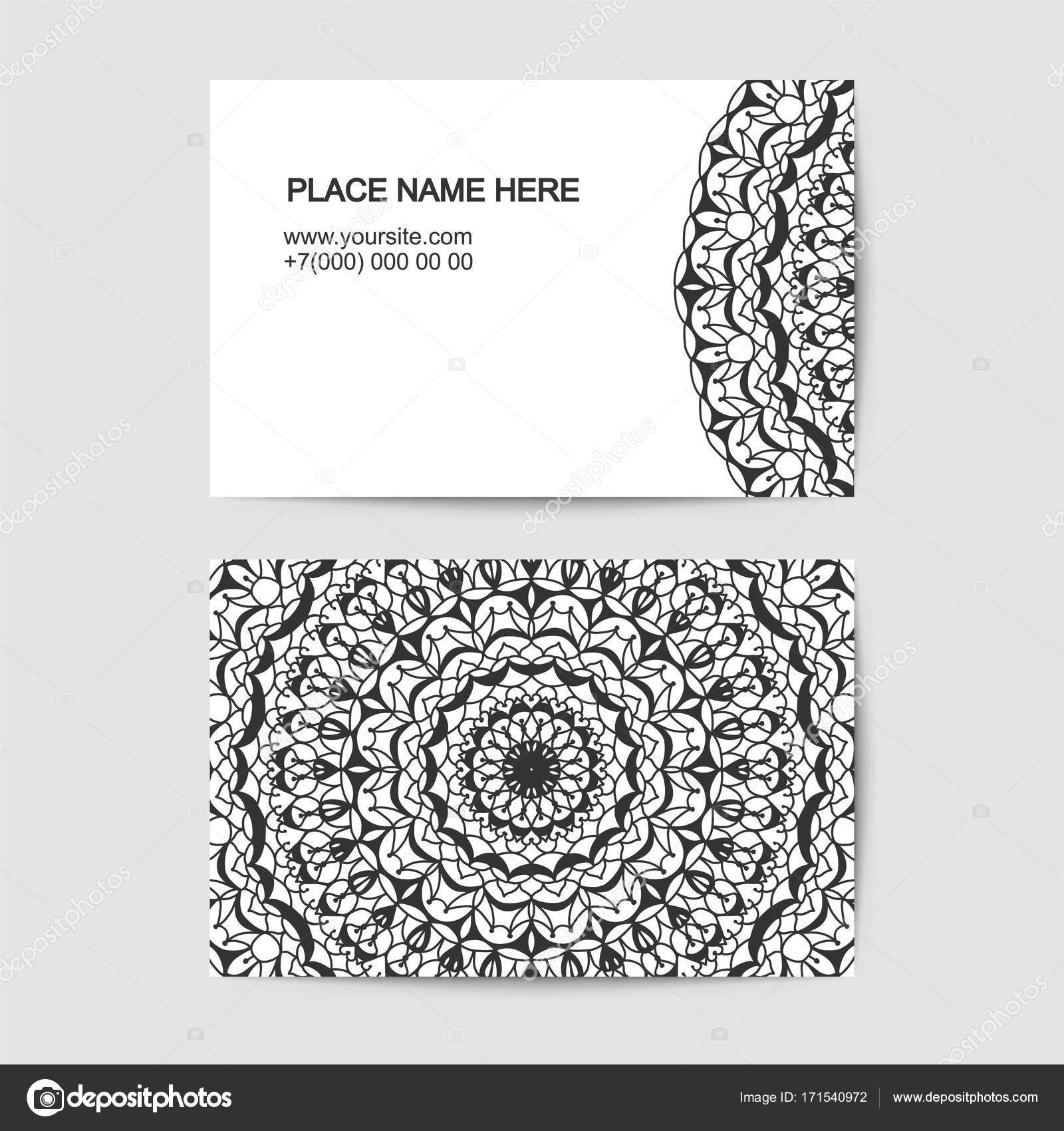 visit card template with lace vector pattern — Stock Vector ...