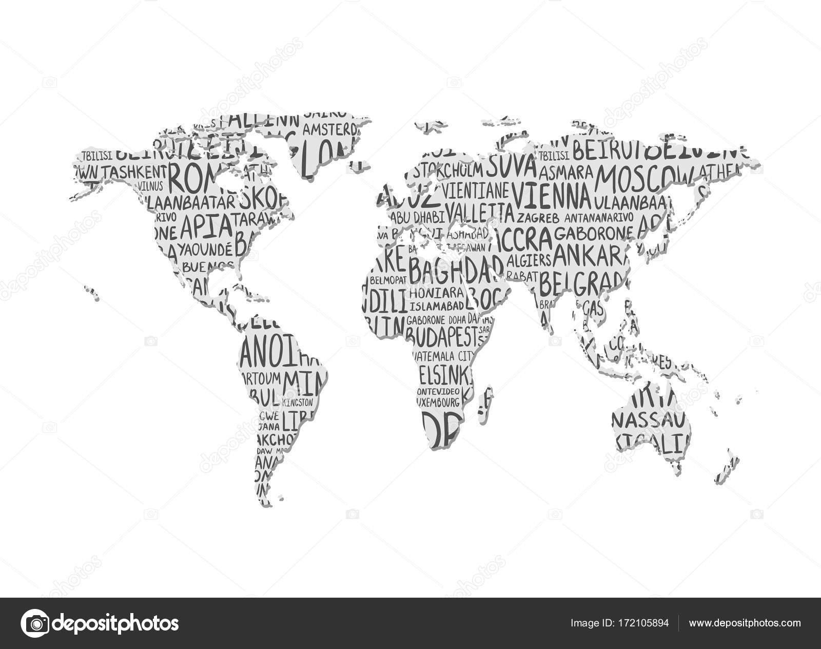 World map vector pattern of capital cities names stock vector world map with pattern of capital cities names vector by ukususha gumiabroncs Gallery