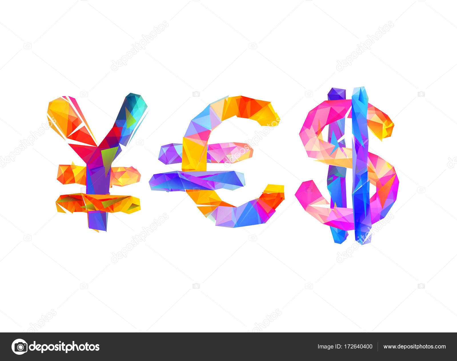 Word yes of currency symbols yen euro dollar stock vector word yes of currency symbols yen euro dollar geometric style vector by ukususha biocorpaavc Images