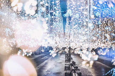 Nikolskaya street, Moscow, Russia. Glowing garland. Christmas an