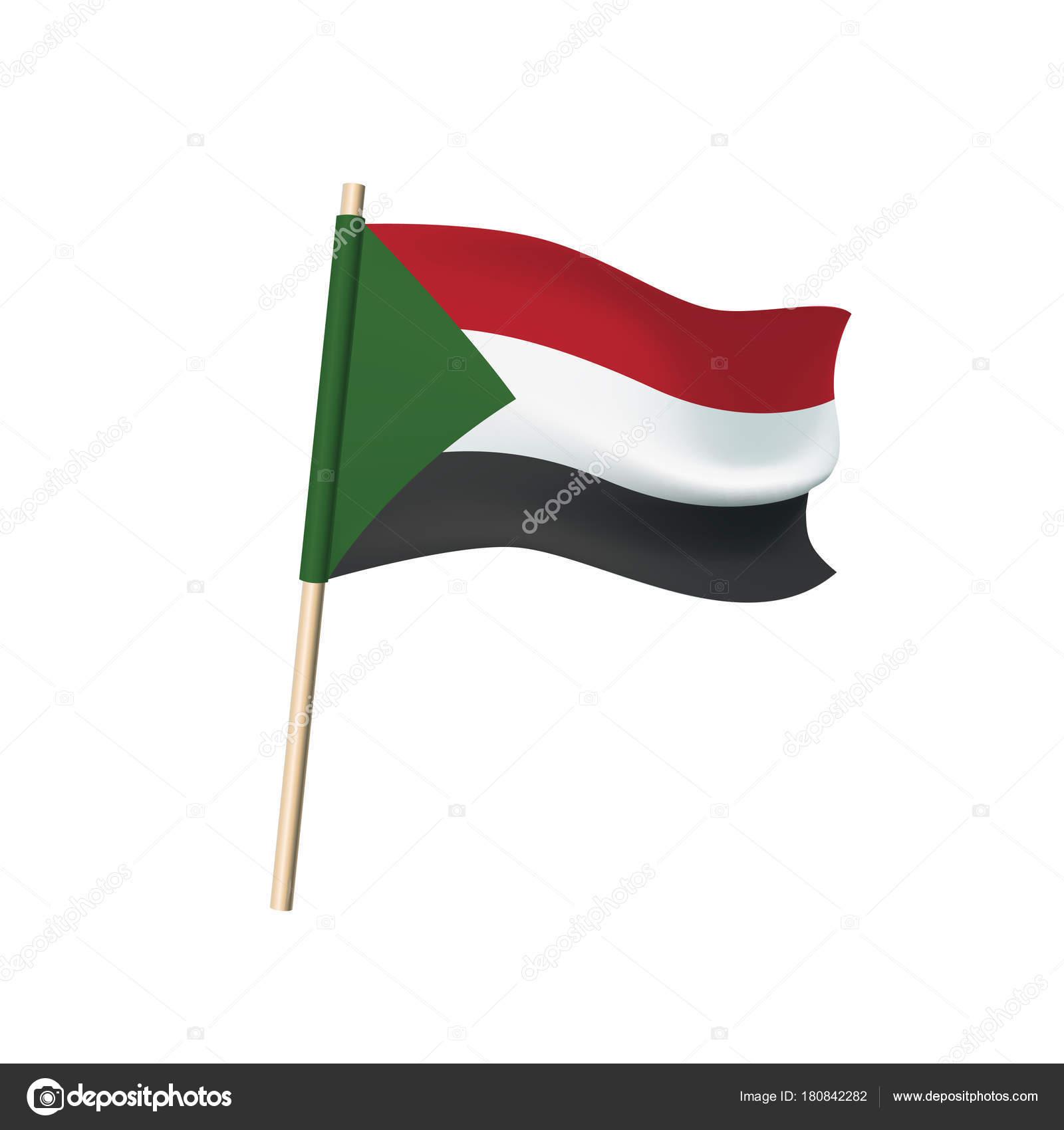 Sudan Flag Auf Weißem Hintergrund Stockvektor Ukususha