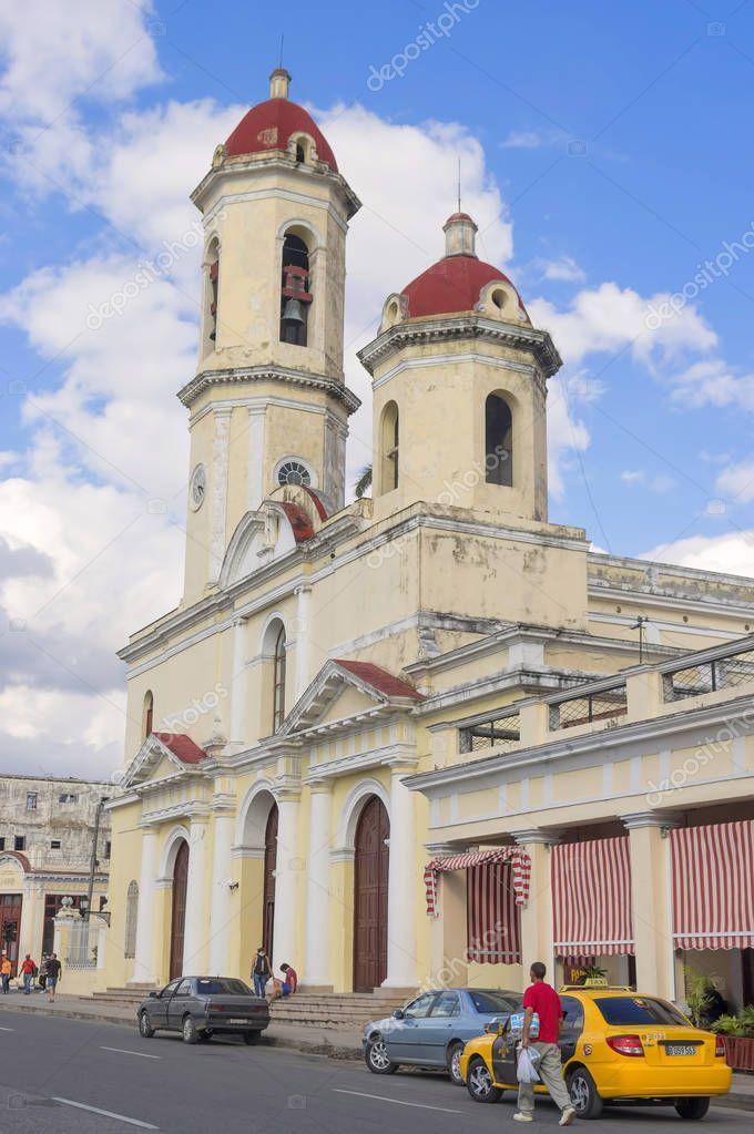 CIENFUEGOS, CUBA - January 03, 2018: Church in the central squar