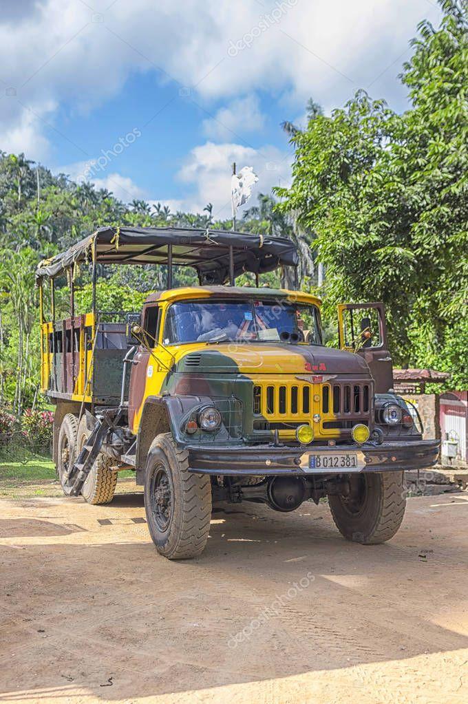 HAVANA, CUBA - January 03, 2018: Former Russian army truck is re
