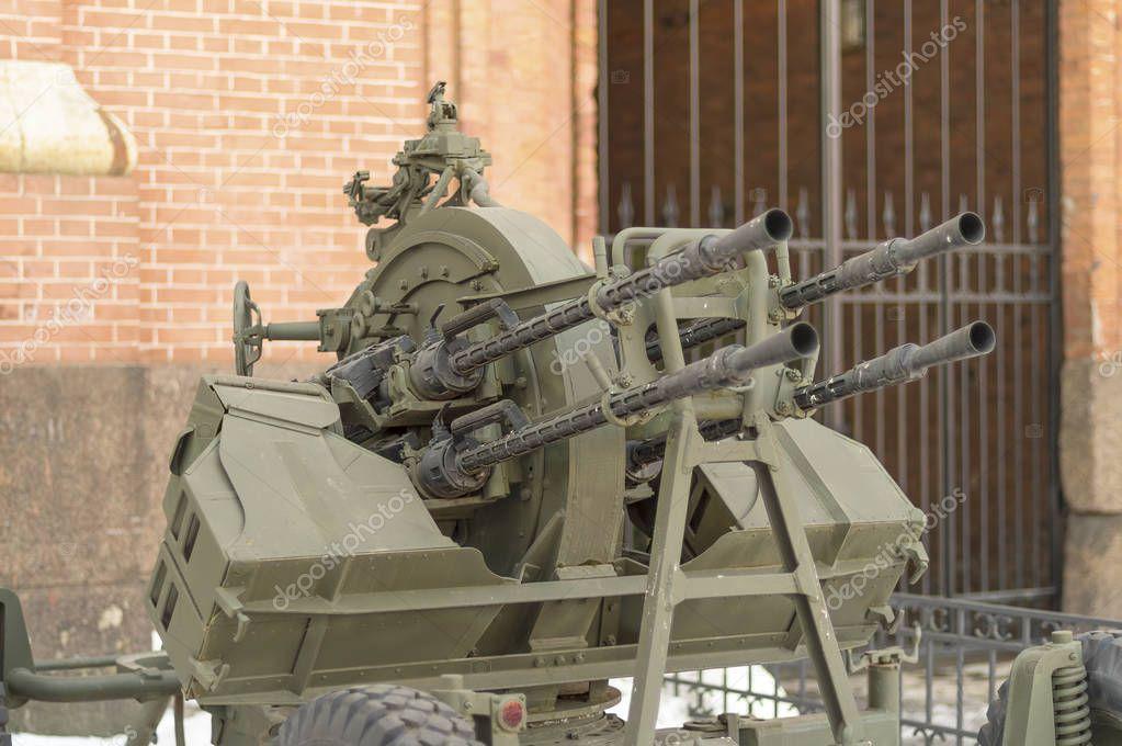 SAINT PETERSBURG, RUSSIA - MARCH 31, 2018: Anti-aircraft machine