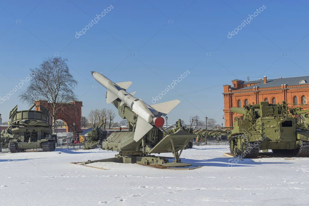 SAINT PETERSBURG, RUSSIA - MARCH 31, 2018: A missile system on c