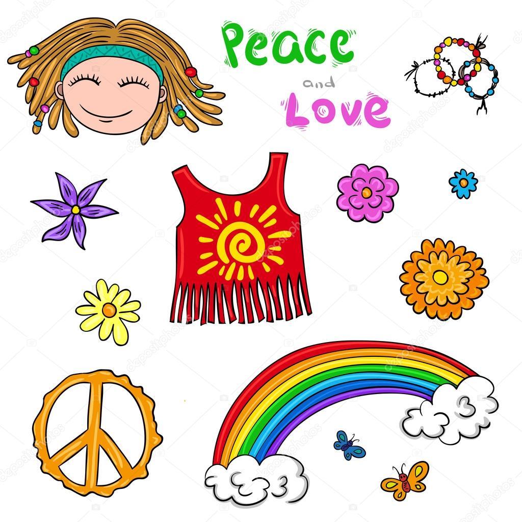 Fiori Hippie.Hippie Symbols Elements Flower Children Collection Stock