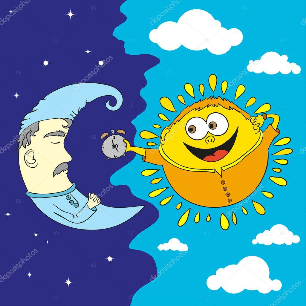 Dibujos Animados De La Luna Y El Sol Dibujos Animados De Estilo