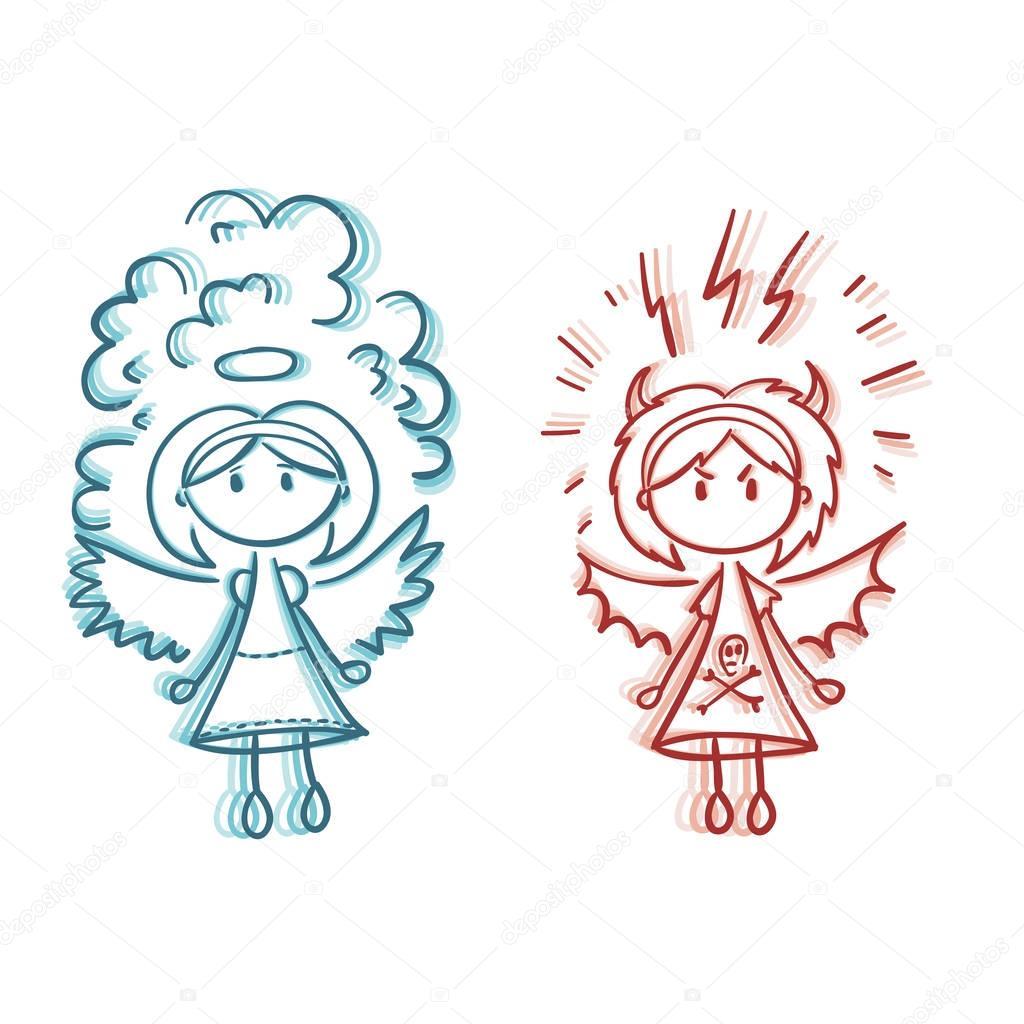 Dessin ange et d mon vector image vectorielle alisen - Dessin ange demon ...