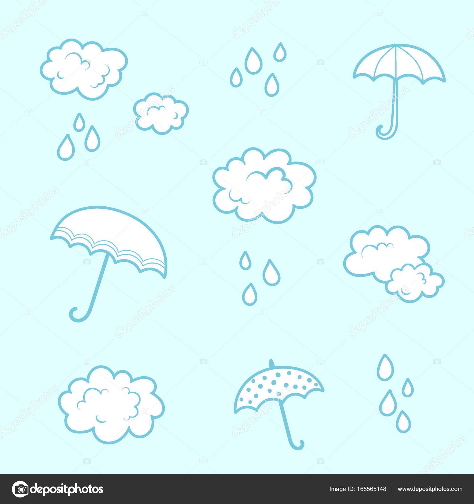 nuvens e padrão de pijama sem emenda guarda chuva dos desenhos