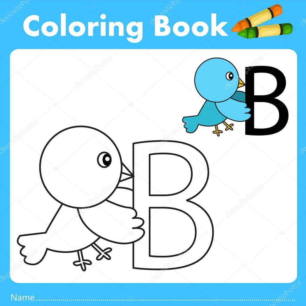 Ilustradora del libro color con animal aves — Vector de stock ...
