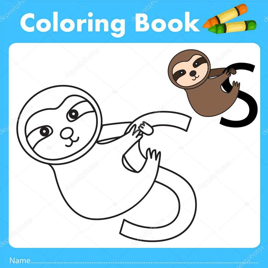 Book color illustrator - Illustrator Of Color Book With Sloth Animal Stock Vector 129067704