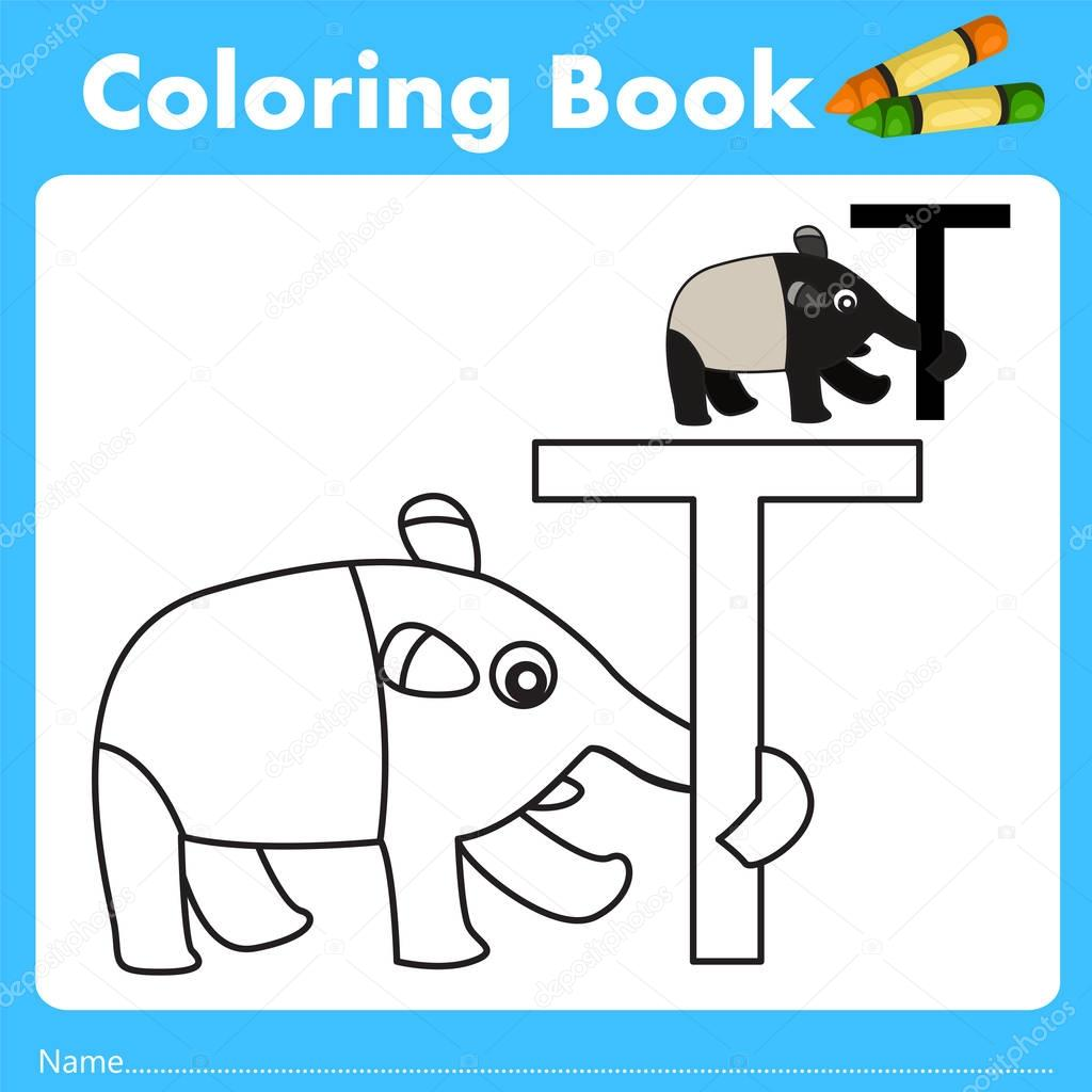 Book color illustrator - Illustrator Of Color Book With Tapir Animal Stock Vector 129067750