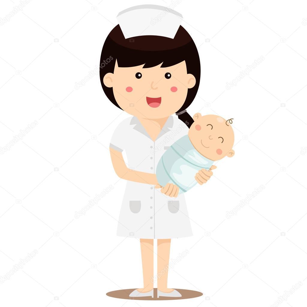 Enfermera con bebe animada | Ilustrador de enfermera con ...